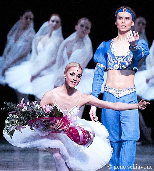 Leonid Sarafanov and Alina Somova after La Bayadère. Photo © Gene Schiavone.