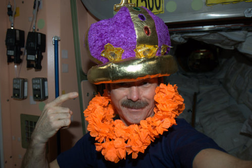Even on the Space Station we're ready for Mardi Gras!
