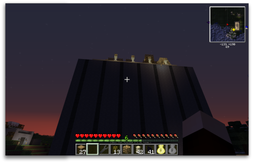 Sunrise behind my monolithic Minecraft factory.