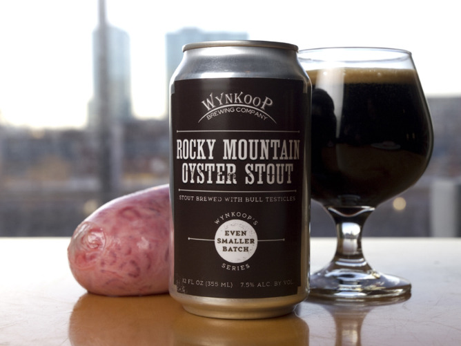 Rocky Mountain Oyster Stout beer in cans — two-packs, of course Wynkoop Brewing's most unique brew, Rocky Mountain Oyster Stout, will be available for purchase Monday in cans. Two packs, to be precise. The stunt-turned-stout beer, which contains — you guessed it — bull testicles, is getting favorable reviews from beer critics. Would you have the, um, courage to try this brew?