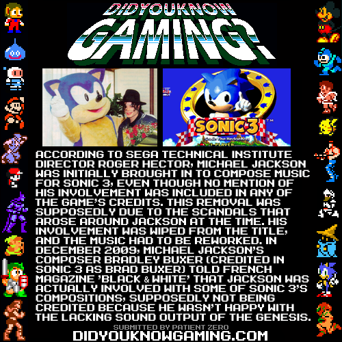 Sonic 3.  http://www.gamesetwatch.com/2006/03/michael_jacksons_secret_sonic.php http://www.mtv.com/news/articles/1627664/did-michael-jackson-compose-sonic-hedgehog-3-soundtrack.jhtml