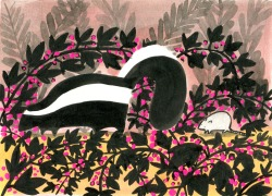eatsleepdraw:  Skunk and Mouse in Brambles