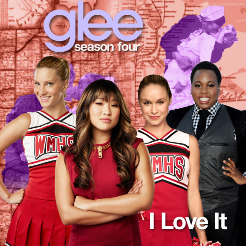 "A Glee album cover (with Season 4 souvenirs) for ""I Love It"" by Icona Pop featuring Charli XCX, as sung by the cast of Glee featuring Jenna Ushkowitz, Alex Newell, Heather Morris, and Becca Tobin, from Episode 4x22 ""All or Nothing"" in my Map Backdrop Style."