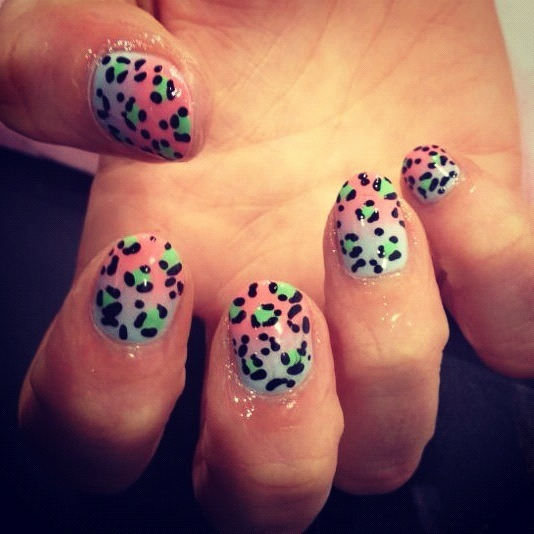 wahnails:  FADE AWAY WITH LEOPARD BY WAH GURL TINU #nails #nailart
