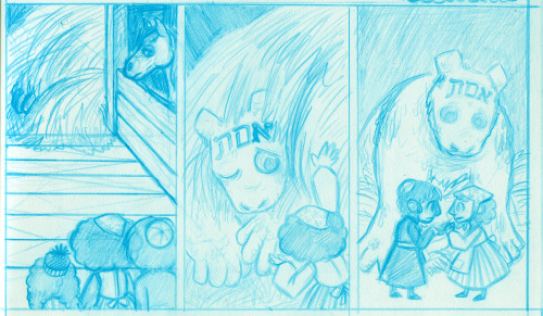 Pencils for the bottom tier of the first page of this comic (the lettering hasn't been put in yet). Featuring blue col-erase pencil that I don't really like and wouldn't be using if my professor wasn't insisting, and a very cute Golem.