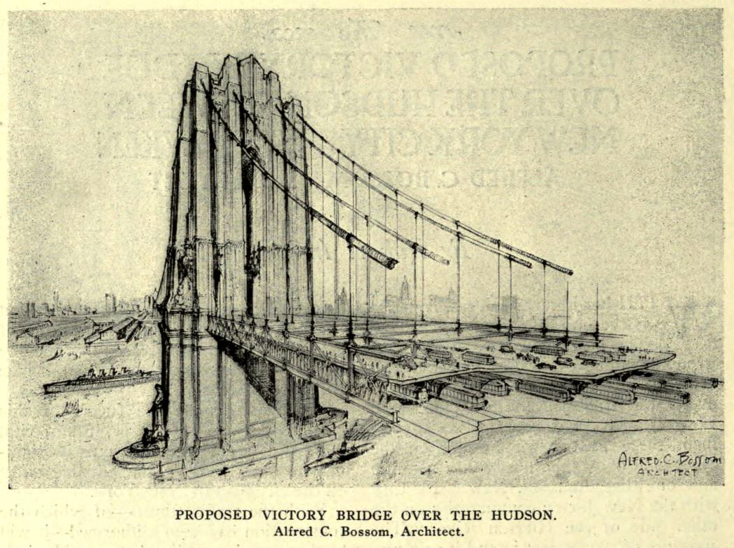 Design for a proposed Victory Bridge over the Hudson, New York City