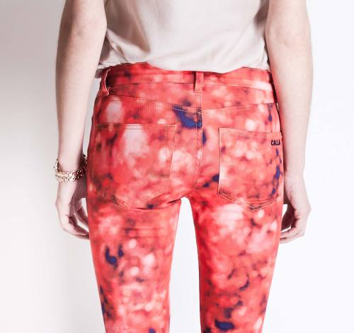 "Check out this cool watercolor-effect print on Calla's ""Red Pants"" from their SS2013 collection!"