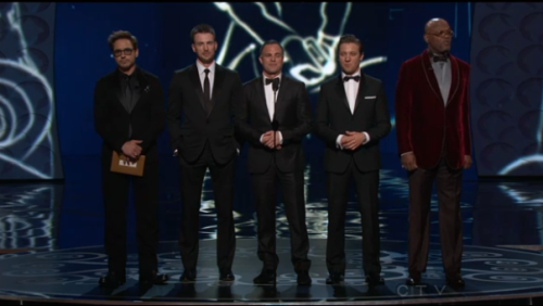 The cast of the Avengers at the 2013 Oscars