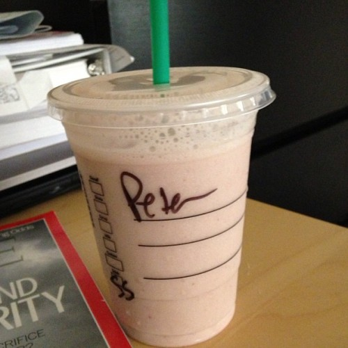 "Today I tried giving my last name instead of ""Amir"" at Starbucks and this is what I got #Sigh (at Starbucks)"