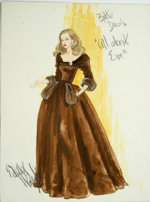 Vintage Tuesday: Great films, Great Costumes.  Sketches by Edith Head, the Golden Age costume designer.  Costume for Bette Davis in 'All about Eve'.