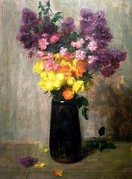 Simon Glücklich Flowers in a Art Nouveau Glass Vase Early 20th century
