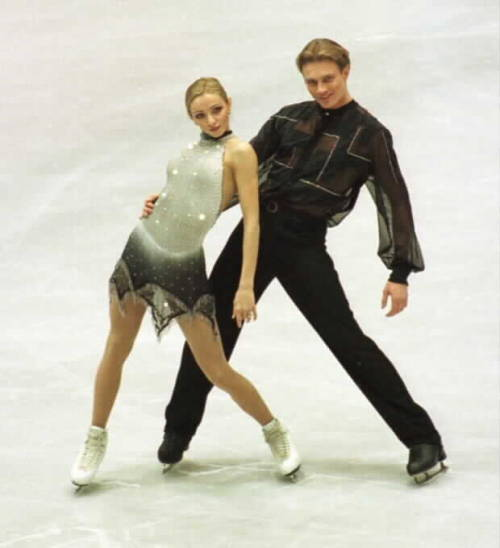 Tatiana Navka and Roman Kostomarov's Silver Samba costumes at the 2001 European Championships. Photo by Barry Mittan.
