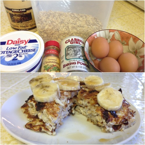 Bubbly Pancakes  Pancake Ingredients:  4 egg whites 1/2 cup of rolled oats 1/2 cup of low fat cottage cheese 1/4 tsp of baking powder 1/4 tsp of cinnamon  Nutritional info: 8PP+ (7PP+ for the pancakes & 1PP+ for the maple syrup) 417 calories  Fat 5.4g, Carbs 32.8g, 4g fiber & 30.4g protein.