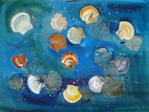 "A rerun of a favorite painting. ""Santiago's Scallop Shells and Constellations,"" 30x22 inches, ink on paper."