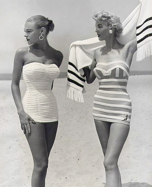 theniftyfifties:  Models in swimwear, 1954.