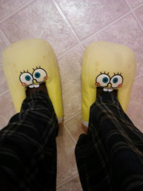 Starting my morning off with some Spongebob slippers