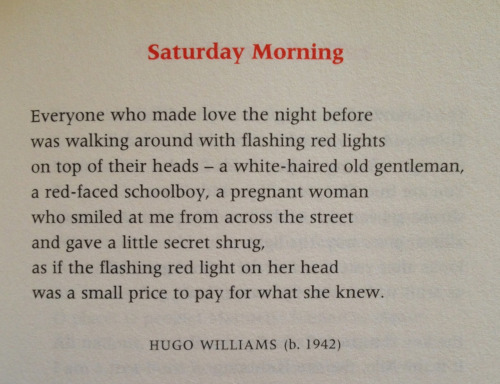 lonelylovelylunchpoems:  Lunch poems, January 20 Hugo Williams - Saturday Morning