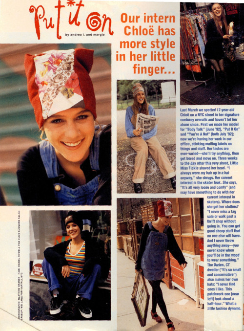 Chloë Sevigny in Sassy Magazine! She interned there; Jane spotted her on the street one day. <3