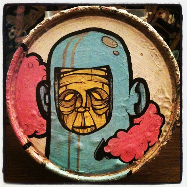 """FROM iTS FORMER LiFE AS A VAPOR"" mixed media on a paint can lid #art #streetart #graffiti #tattoo #logo #graphicdesign #cartoon #comicbook #life #juxtapozmag #dope #skateboard #slaps #photooftheday #instagood #tweegram #statigram #picoftheday #instadaily #igdaily #igers #webstagram #picstitch #iphoneonly #fun #love #jj #follow"