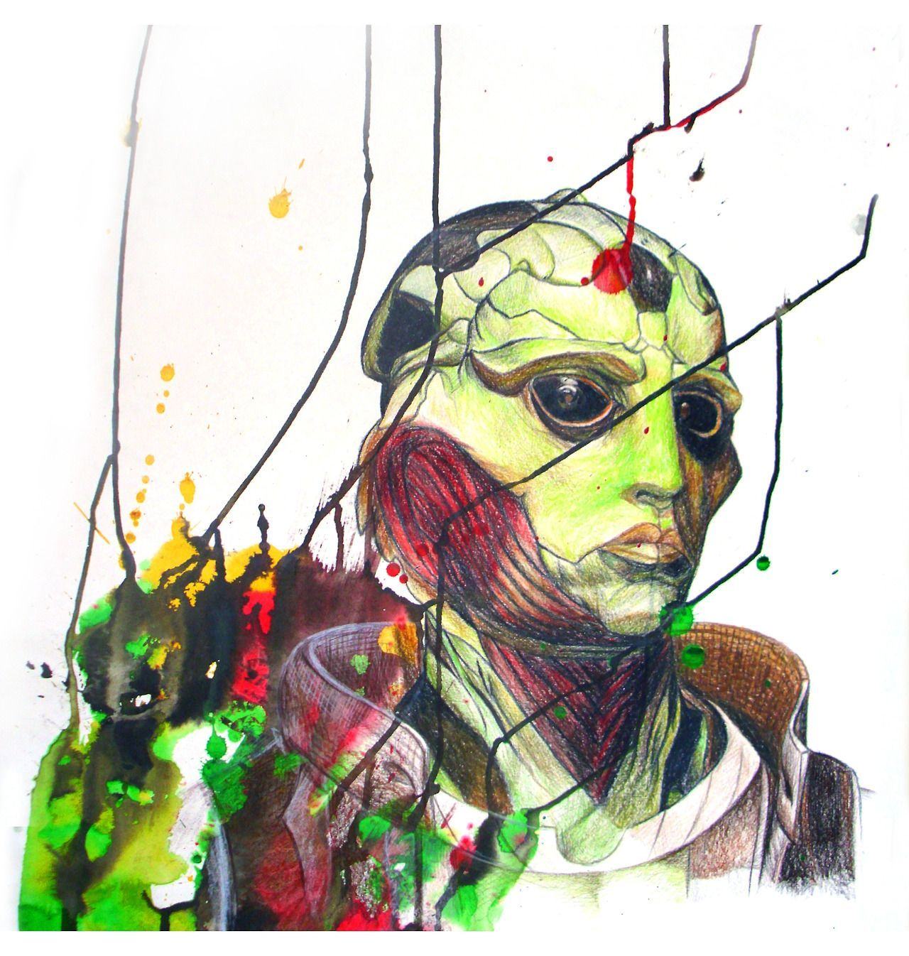 I just finished this! More characters to come! Thane Krios Portrait Inks and Colored Pencils Buy Prints here or see my site