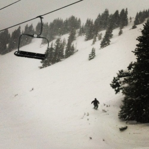 Cliff sending it under Chair 9 at Loveland. #snowboarding #loveland #pow  (at Loveland Ski Area)