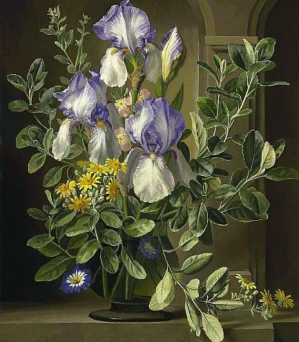 Gerald A. Cooper Still Life with Flags and Morning Glories 20th century
