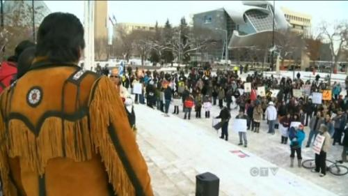 Idle No More Rallies Sprout Across Canada, Invigorating Grassroots Thousands of people across Canada took to the streets for International Human Rights Day yesterday (December 10), launching a grassroots effort for Native rights and recognition in the face of controversial federal budget legislation.