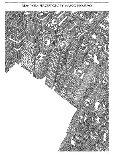 Complex illustrated cityscapes by Vasco Mourao, here featured in the New Yorker