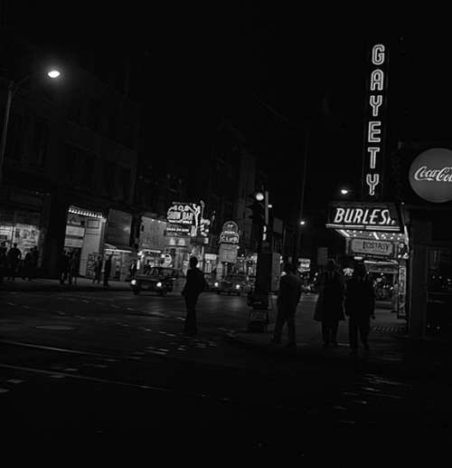 The Block (night scene)Baltimore Street, Baltimore, Maryland1963Robert F. Kniesche (1906-1976)2 1/4 x 2 1/4 inch negativeKniesche Photograph CollectionMaryland Historical SocietyPP79.561.2