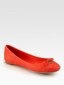 Tory Burch Chelsea Leather Stitched Logo Ballet Flats via http://bit.ly/10kE0kT
