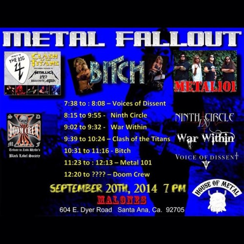 Tonight at Malone's! Come check out our buds from Clash of the Titans (slayer, megadeth, anthrax, metallica tribute) plus lots of other cool bands! Should be a great night of metal! \m/ #metalfallout #clashofthetitans #supportlocalmusic #malonesbarandgrill #bitch #metal101 #doomcrew #ninthcircle #warwithin #voiceofdissent  (at Malones Bar and Grill)