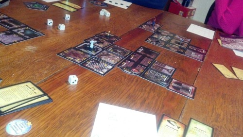 I am playing Betrayal at House on the Hill with the in laws.  The haunting had just started and I was reading that we hear the madman coming in the front door.  Just then the next door neighbors started their fireworks…  I almost died.