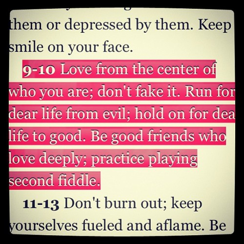 Let's run with this (Rom 12:9-10 MSG)