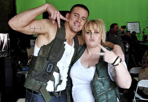 Channing Tatum and Rebel Wilson behind the scenes at the MTV Movie Awards