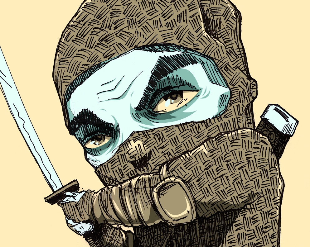 Ninja Warrior. Sketch freehand, colorized with adobe photoshop.