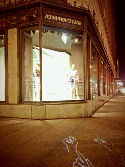 Saks always keeps you on your toes! Projected sidewalk images to draw your eyes to their most fashionable lines!