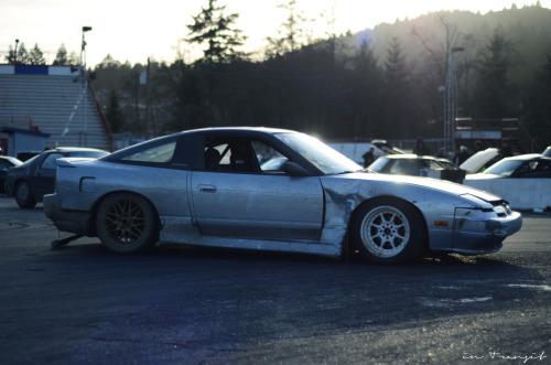 JD's zombie s13. This was his first car. It's seen crashed so bad that most driver's would have moved on to a new chassis, but it's still rockin it to this day. Something to be said for someone who can keep a car longer than a few months these days.