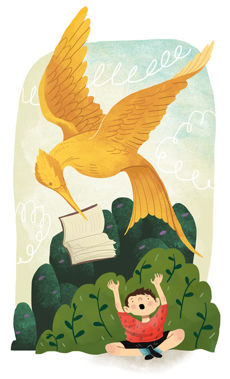 Here's a new illustration for this week's TimeOut Chicago Kids. The article's a discussion that sparked from The Hunger Games being banned in the author's son's classroom because the books might be age-inappropriate. I don't really like the idea of age-restrictions on books but I'm probably pretty biased. Growing up I was allowed to read anything in the house, and my mom liked to read the Metamorphosis to me as a bed time story (<3 you mom) so there you have it.