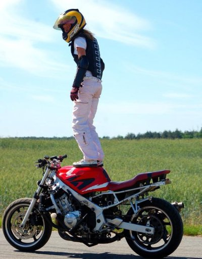 Ewa Pieniakowska stunt training in 2010. Ewa is a Polish stunt rider with a lot of talent in a tiny package.