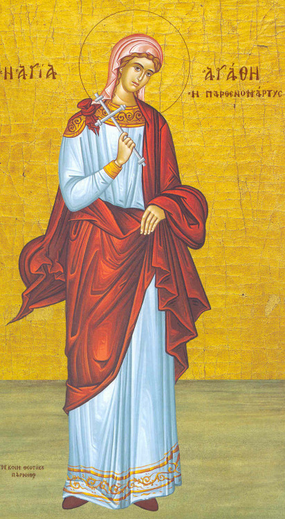 Today, the Orthodox Church is commemorating the Holy Virgin Martyr Agatha of Palermo in Sicily!  The Holy Virgin Martyr Agatha was the fifteen-year-old daughter of rich and respected Christian parents from the city of Palermo (formerly Panormos) in Sicily. During the persecution under the emperor Decius (249-251), the city prefect of Catania, Quintianus, having heard about Agatha's wealth and beauty, sent his soldiers after her to bring her to trial as a Christian. At Catania they housed the saint with a certain rich woman, who had five daughters. They all attempted to tempt St Agatha with fine clothes, amusements and entertainment, urging her to offer sacrifice to the pagan gods, but the saint disdained all these things. The more they tried to move her, the more resolute she became. She prayed that she might soon face martyrdom. During her interrogation under Quintianus, the holy martyr was swayed neither by the flattery, nor by the threats, and she was subjected to cruel torments. They also tried to remove her breasts with metal tongs, and when this failed, they used knives. The holy Apostle Peter appeared to her in prison and healed her wounds. St Agatha was led to torture again, and Quintianus was astonished to see her completely healed, with no trace of cutting. Then the torture began once more. At this moment an earthquake took place in the city, and many buildings were destroyed. Among those killed were two of Quintianus's advisors. The terrified inhabitants rushed to Quintianus, demanding an end to Agatha's tortures. Fearing a revolt by the people, Quintianus sent St Agatha back to prison. There the martyr, offering thanks to God, peacefully surrendered her soul to the Lord.
