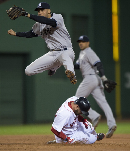 RETIRE? Look at DJ doing what he does best jumping over Jonny Gomes April 24,2014.