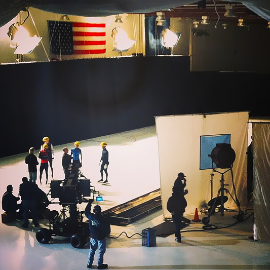 US speedskaters at NBC Studios for Road to Sochi promo shoot. source