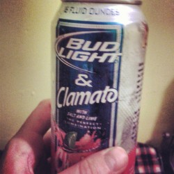 Bud Light + tomato juice + clam juice + lime. They sound a little gross but they are unbelievably delicious.