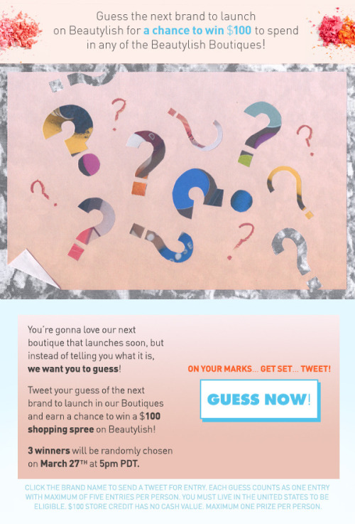 Guess the next Beautylish Boutiques brand launch for a chance to win $100 in store credit! Click here to guess now!