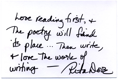 Throughout National Poetry Month, we'll be featuring a letter/postcard of advice from 30 Poets. Today's is from former Chancellor Rita Dove.