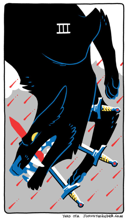 Three of Swords. photoshop. Sometimes I like to think about what what tarot cards best represent my characters.  Dhio is the three of swords because he has emotional issues.