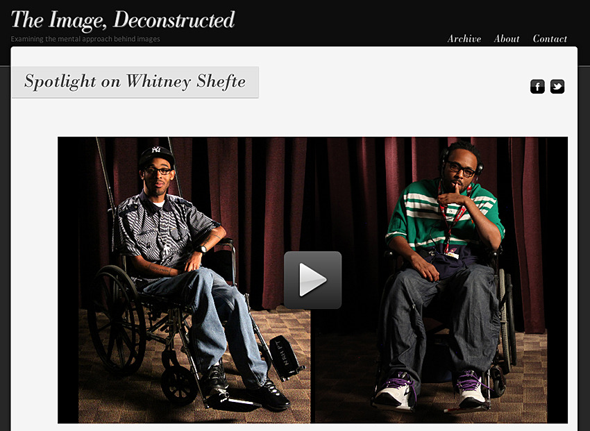 "Photo blog ""The Image, Deconstructed"" interviewed me and did this profile on the project I did about survivors of gunshot wounds who are wheelchair-bound. See the profile here."