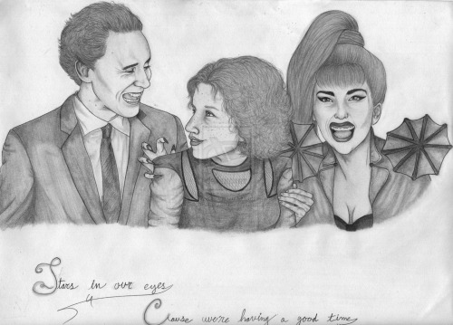 """Stars In Our Eyes, 'Cause We're Having A Good Time ~ By ~ Me Tom Hiddleston, me, and Lady Gaga""""Stars in our eyes 'cause we're having a good timeEh-eh, eh-eh, so happy I could dieBe your best friend, yeah, I'll love you foreverUp in the clouds, we'll be higher than everEh-eh, eh-eh, so happy I could die, and it's alright.""""Tom was the easiest to draw in this drawing! :) (Funny, I never thought I would be saying that about him…) BUT! I'm really happy with how he turned out! ~The girl in the middle is mwah, of course! ;P This is the forth (I believe) self portrait that I've drawn and is my favorite of all! :D~Gaga was the funnest to shade in and I put together a few looks to get her hair, makeup, and outfit just right! :)~Sorry about the dark and crinkled edges…the scanner I'm using scans things with so much detail that it picks up even the slightest flaw! O.o Hope you guys like it though! :D Comment, fave, and enjoy! <3"""