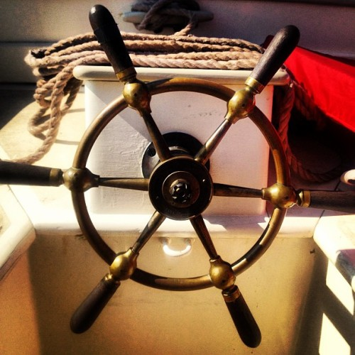 Amnesty's pretty wheel. #sailing #friendship #sloop