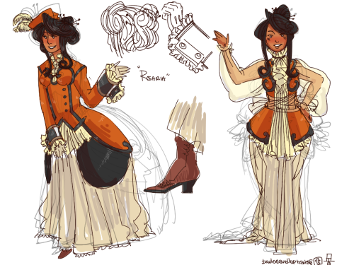 Rosaria Violino genderbend of Roberto Violino  I really don't know what outfit would fit her best. :'I So I made two I sketched out when talking to Kei.  Her voice is pretty nice from the sample that I heard, so very lady-like.